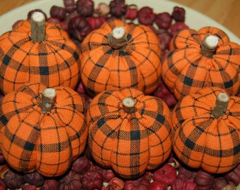 Primitive Halloween Orange & Black Homespun Pumpkin Ornies