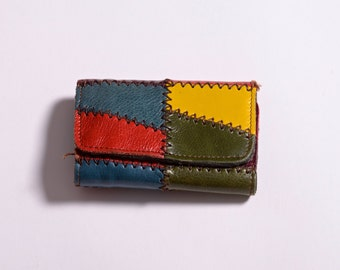 Practical Colorful Patchwork Leather Wallet