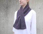 Purple Keyhole Scarf, Knit, Cashmere & Wool, Pull Though, Office, Short Scarf