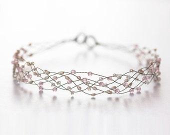 42_Pink crystal headband, Pearls headband, Crystal headband, Tiara, Wedding hair accessories, Pink diadem, Headbands, Wedding headband, Hair