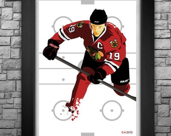 """CHICAGO BLACKHAWKS """"Jonathan Toews"""" limited edition art print. Available in 3 sizes!"""