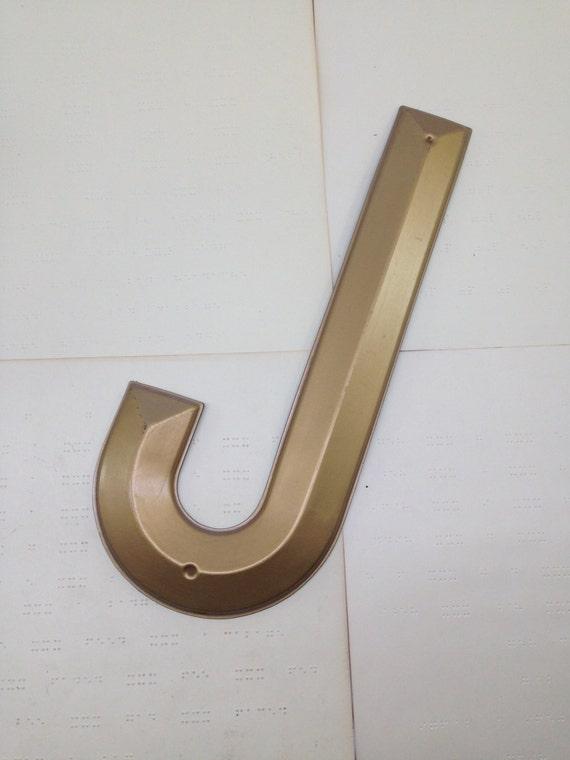 Vintage large gold marquee letter j vintage plastic sign for Large vintage marquee letters