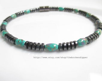 Magnetic Hematite Bracelet With Teal Accents