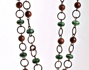 Beaded Copper Necklace with Green Tiger Eye and Goldstone