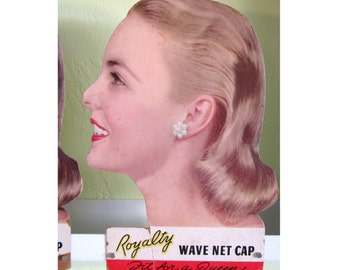 Vintage 1950s Drugstore Display for Royalty Wave Net Hair Net Cap - Pretty Profile Life Size Head of Woman Heavy Cardboard Litho Print