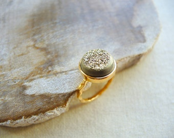 Druzy Ring, Agate Window Druzy Titanium Coated Gold Ring, 18K Gold Vermeil Ring, Druzy Stone Ring, Druzy Jewelry Gifts For Her