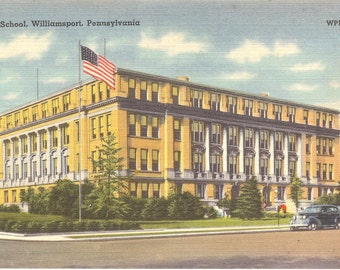 Vintage Linen Postcard...High School, Williamsport PA.....Unused...no. 1448