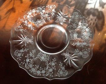 Fostoria Meadow Rose Plate / Platter Etched Glass Baroque Fleur De Lis Cracker Plate  Ca 1930's