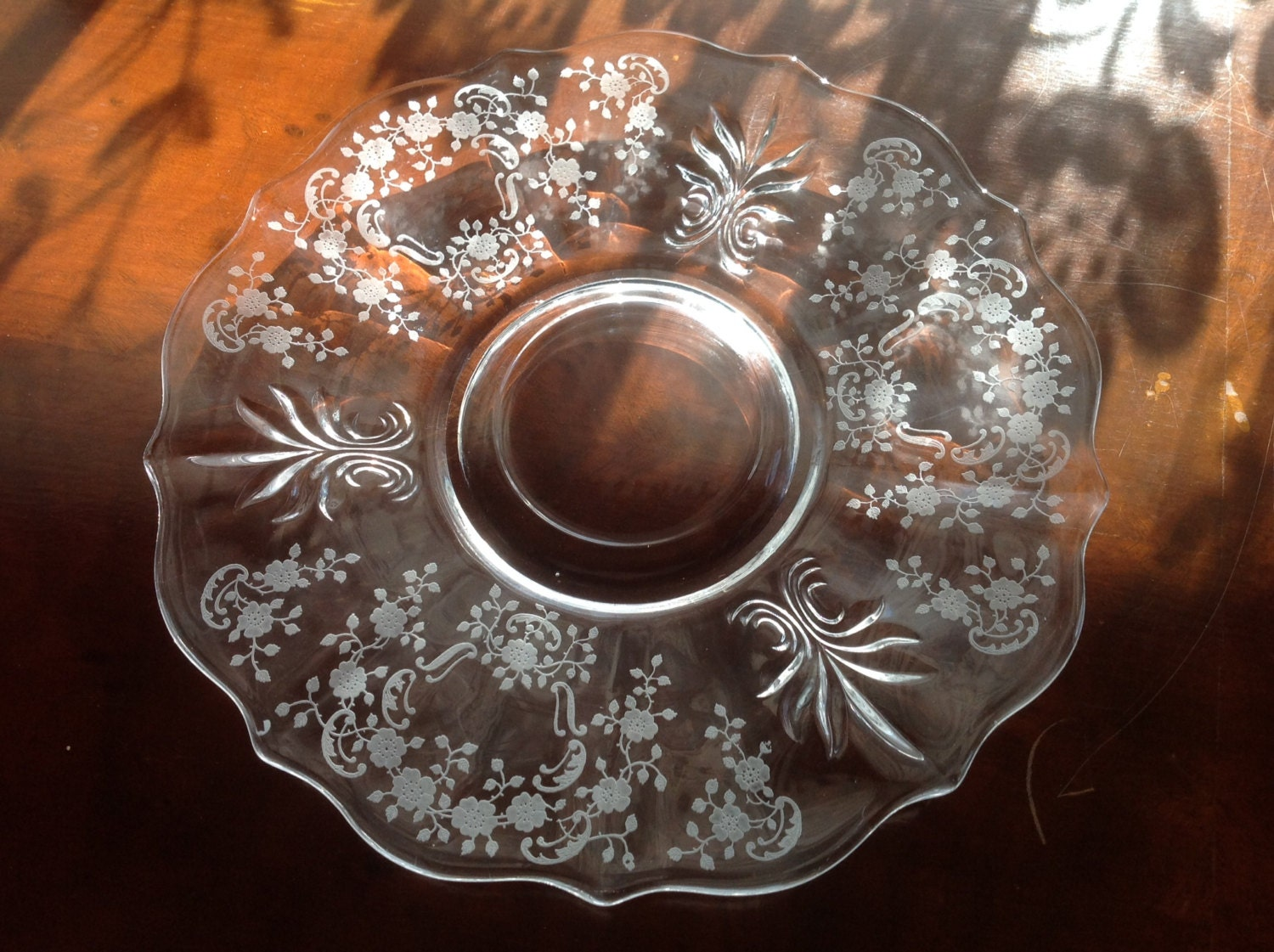 Blue Tape Sales >> Fostoria Meadow Rose Plate / Platter Etched Glass Baroque