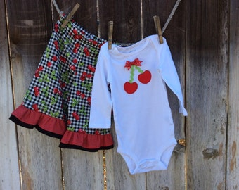 Cherry Onesie Outfit with Ruffle Pants