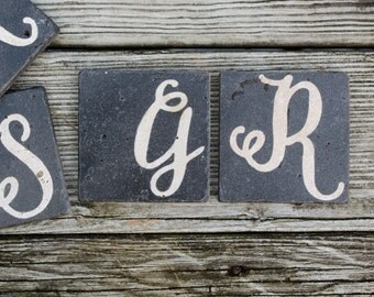 chalkboard hand lettered initial stone coasters custom monogram initial wedding coasters favor rustic wedding gift groomsman gift