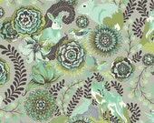 Fox Trot Fox Field by Tula Pink - Olive Green Aqua Shade  PWTP049 - 1/2 yard cotton quilt fabric 516