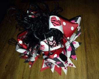 """6"""" OTT hair bow with ostrich feathers wild about valentines boutique style"""