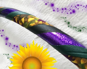 Purple Sunflower Dance & Exercise Hula Hoop COLLAPSIBLE or Push button - orchid glitter green