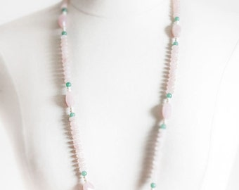 Rose and Jade Flapper Necklace - Authentic Natural Stone