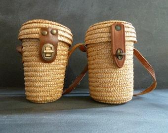 Set of two vintage MINI WOVEN BASKETS.