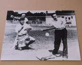 1953 Senator John F Kennedy Playing Baseball Photograph Stamped and Numbered
