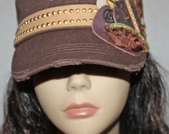 Brown Vintage Style Cadet Cap with Steampunk Style Embellishments