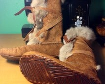 Custom Leather Mukluks ~ Made to Order, ANY SIZE~ Rabbit-lined Wrap slippers