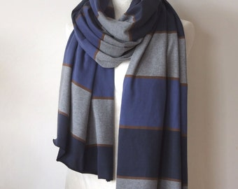 Striped cotton jersey oversized scarf, navy blue & gray unisex jersey scarf, wide stripes long scarf, chunky shawl, man scarf, bohemian wrap