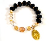 Jet Black Preciosa Crystals and Golden accents Miraculous Medal Rosary Bracelet