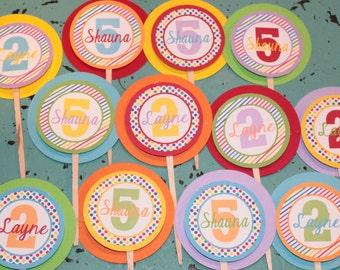 RAINBOW HAPPY BIRTHDAY or Baby Shower Party Cupcake Toppers Picks set of 12 {One Dozen} - Party Packs Available