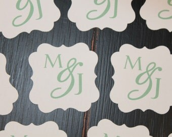 SIMPLE MONOGRAM Birthday Wedding Bridal or Baby Shower Favor Tags or Stickers One Dozen {Set of 12} - Party Packs Available