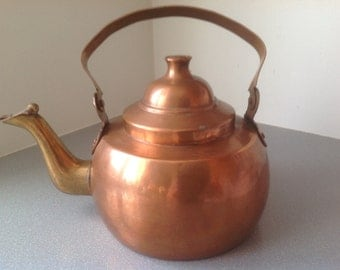 Vintage antique copper tea pot 3 l