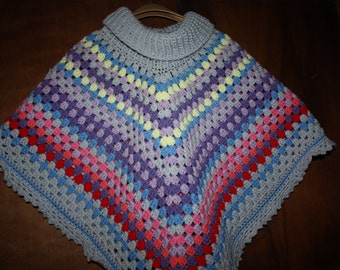 One size hand crocheted Poncho.