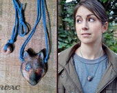 You're a Wolf. Ceramic Iridescent Wolf Pendant Necklace