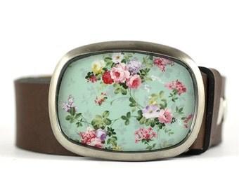 Floral Belt Buckle, Rose Belt Buckle, Womens belt buckle, gift for her, romantic belt buckle