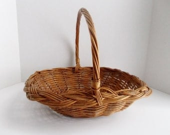 Vintage Wicker Basket with Handle Woven Braided Edge