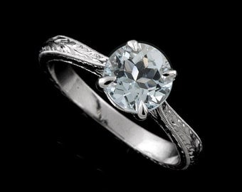 14K White Gold Vintage Style Aquamarine Hand Engraved Solitaire Engagement Ring