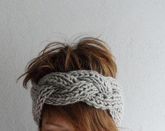 Knitted Headband Chunky Headband Ear Warmer Cabled Headband Head wrap in Stone Beige Taupe Hair Accessories