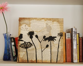 Floral Wall Art, 12x12 Flower Silhouette Painting, Book Collage Art, Wildflowers Painting, Vintage Looking Wall Art, Recycled Book Decor