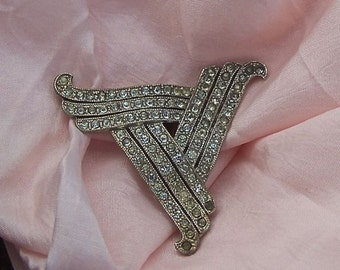 Beautiful Vintage Large Deco Dress clip with Gorgeous Design on the Back