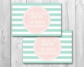 Will you be my bridesmaid, maid of honor card, bridal party invite, instant download, mint and coral