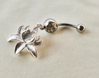 Silver Belly Ring Bellybutton Jewelry Piercing Flower Navel Ring Flower Silver Body Jewelry Belly Button