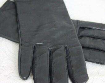 Vintage Black Leather Gloves Like New Lined