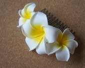 White Plumeria Comb Shape Hair Clip (Without Pearls)