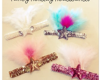 Sequin Feathered Headbands