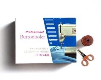 Singer Professional Buttonholer Vertical Needle ZigZag Machines 1967 Book Templates Sewing Accessories