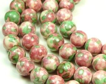 8mm Rain Flower Stone Ocean Jade Round Gemstone Beads - 24pcs - Green, Pink - BB12