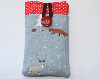 Fabric iPhone sleeve, iPhone case, iPhone pouch, iPod touch sleeve, winter woodland, foxes, owls, hares, stag