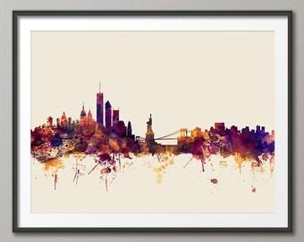 New York City Skyline, NYC Cityscape Art Print (1356)