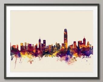 Hong Kong Skyline, Hong Kong China Cityscape Art Print (1409)