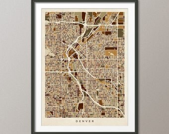 Denver Map, Denver Colorado City Street Map, Art Print (1541)