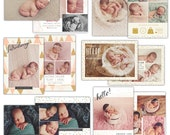 INSTANT DOWNLOAD - Birth announcements bundle Photoshop templates- E1116