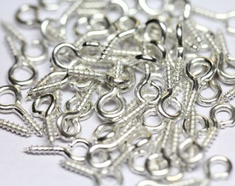 50 Eye Screw Bails  Silver  Plated  8 x 4 mm Ships From The United States - cn169