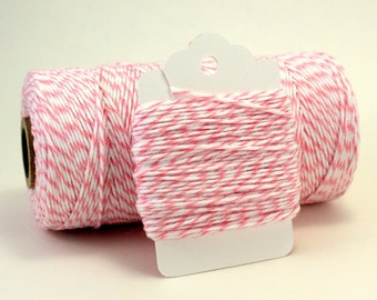 Light Pink Twine - Pastel Pink Twine - Pale Pink String - Striped Pink and White Twine - Girl Baby Shower Favors - Cotton Candy Divine Twine